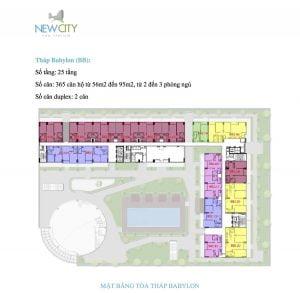 Mặt bằng căn hộ New City Tháp Babylon