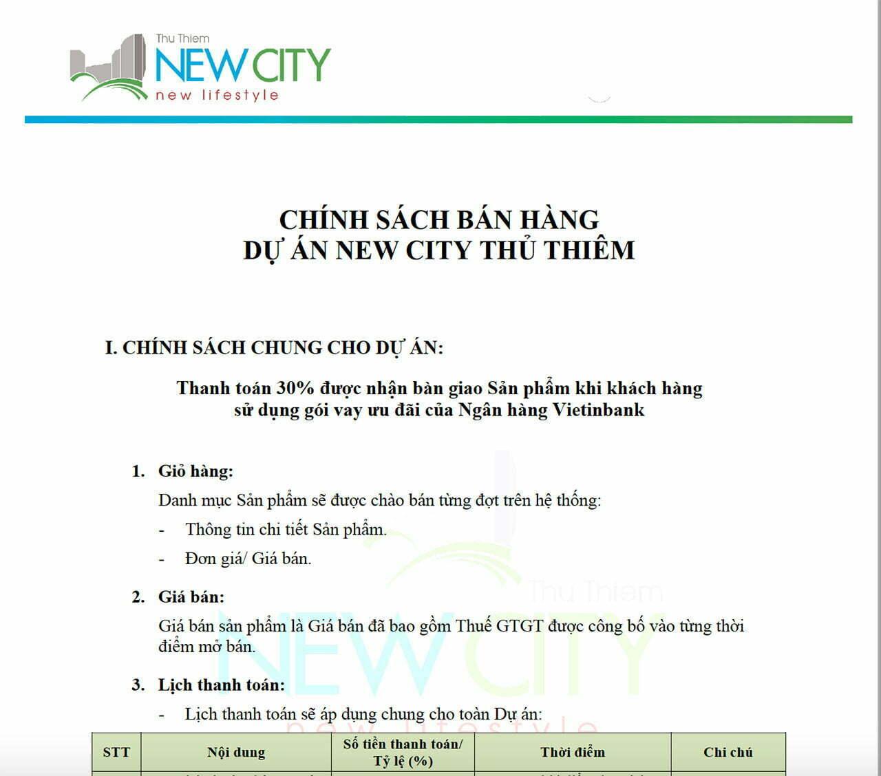 Chính sách bán hàng New City Thủ Thiêm Quận 2