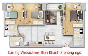 Căn hộ Vietracimex Bình Khánh 3 phòng ngủ 90m2