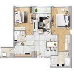 Cho thuê căn hộ New City 2 phòng ngủ