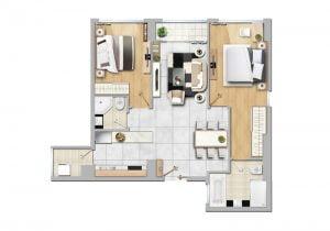 Cho thuê căn hộ New City 2 phòng ngủ đầy đủ nội thất