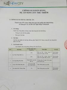 Chính sách bán hàng 155 căn hộ New City Quận 2