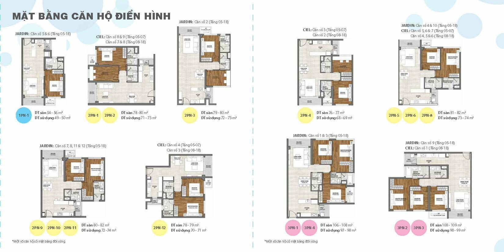 Mặt bằng căn hộ One Verandah tầng 5-18