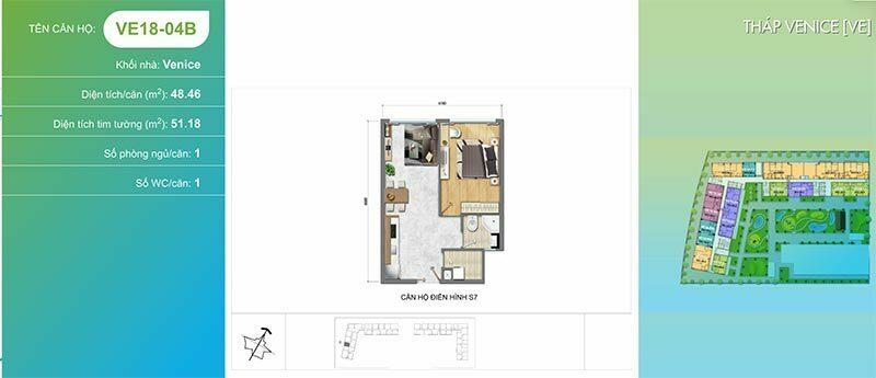 Mặt bằng căn hộ New City Thủ Thiêm 1 phòng ngủ có ban công