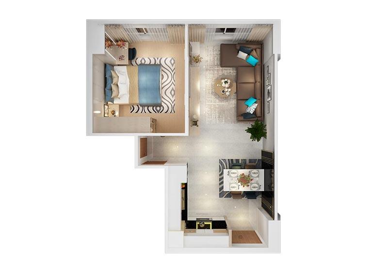 Nội thất căn hộ New City Thủ Thiêm 1 phòng ngủ cho thuê có đầy đủ không?